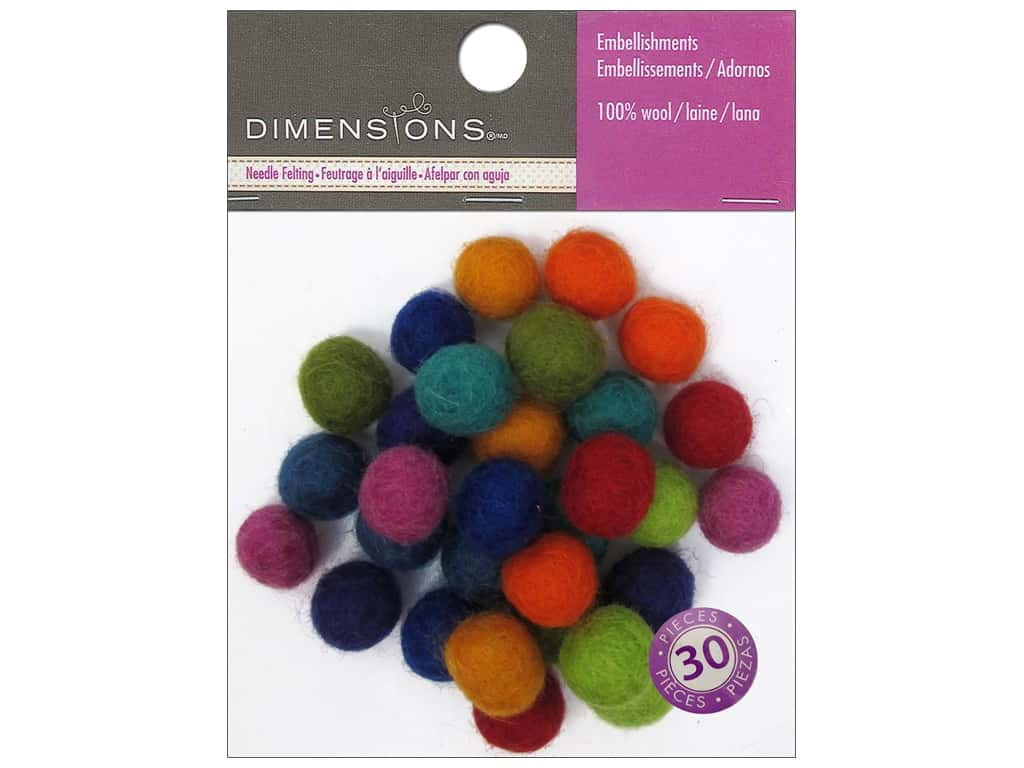 Dimensions 100% Wool Felt Embellishment Ball 1 cm Astd