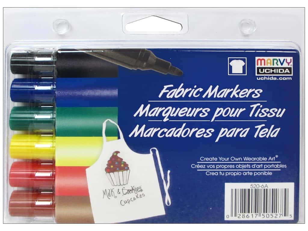 Marvy Fabric Marker Bold Tip Set 6 pc. Primary