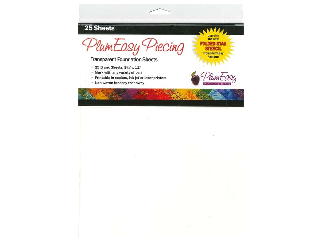 PlumEasy Patterns Accessories Piecing Foundation Sheets 25pc