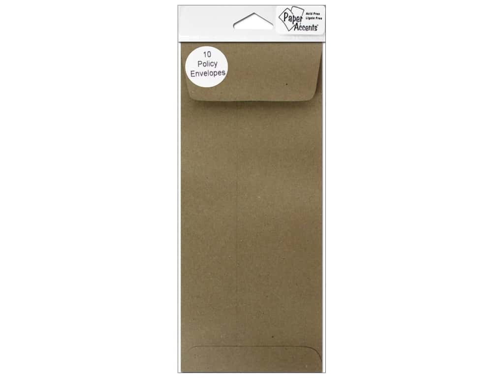 9 1/2 x 4 1/8 in. Policy Envelopes by Paper Accents 10 pc. Brown Bag