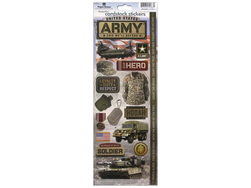 Paper House Sticker Cardstock United States Army