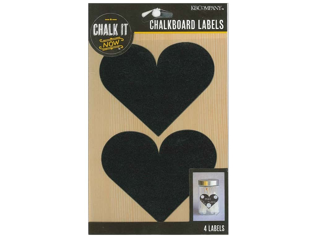 K&Company Chalk It Now Chalkboard Label Heart