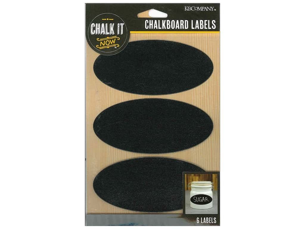 K&Company Chalk It Now Chalkboard Labels Oval Black