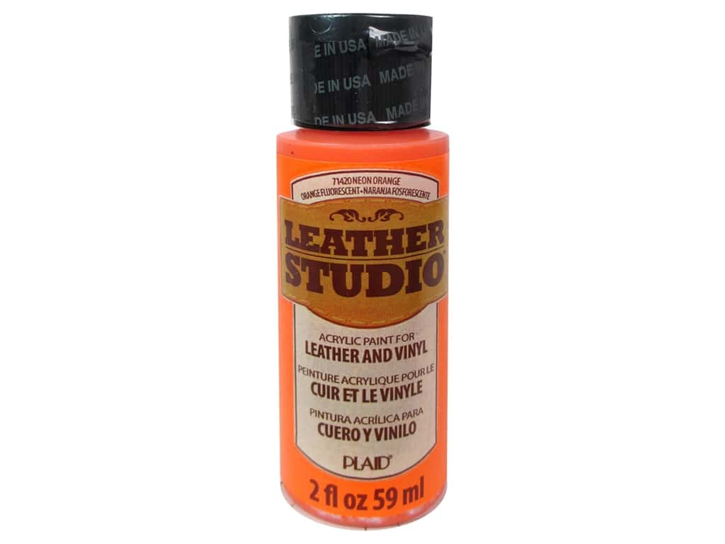 Plaid Leather Studio Leather & Vinyl Paint 2 oz. Neon Orange