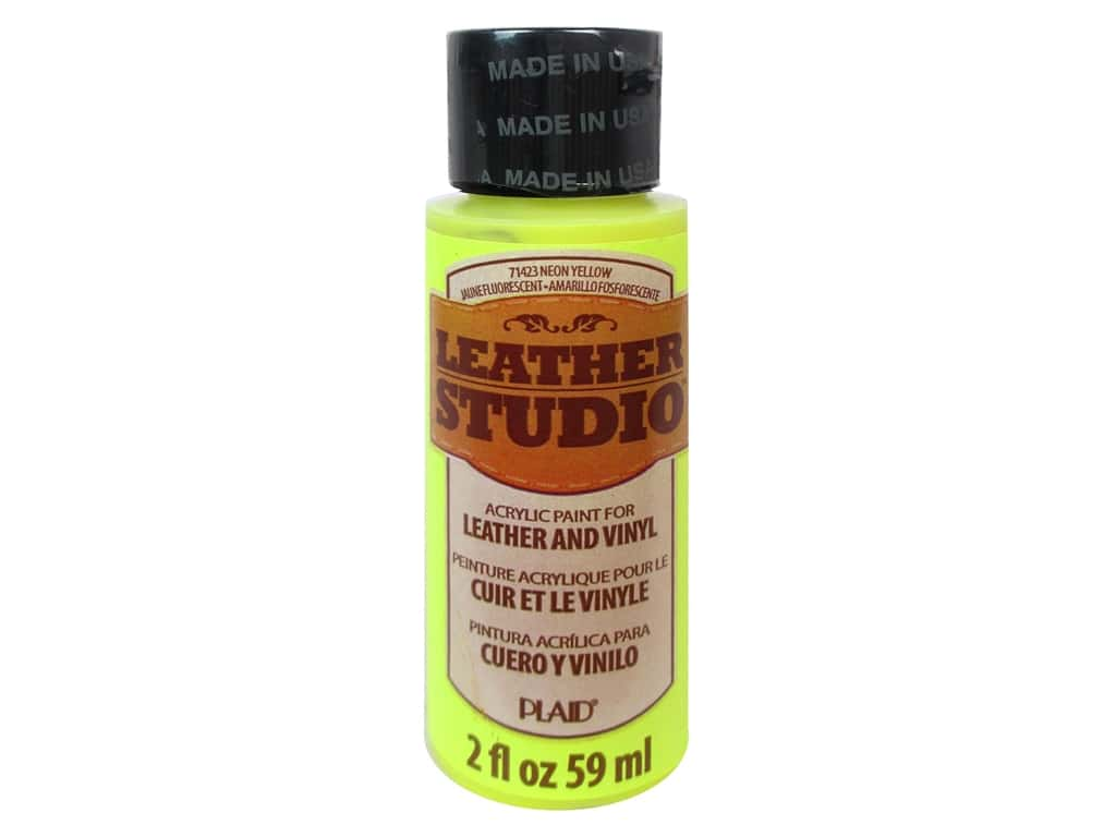 Plaid Leather Studio Leather & Vinyl Paint 2 oz. Neon Yellow