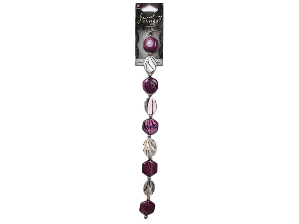 Cousin Basics Shell and Metal Beads 5/8 in. Purple Black 18 pc.