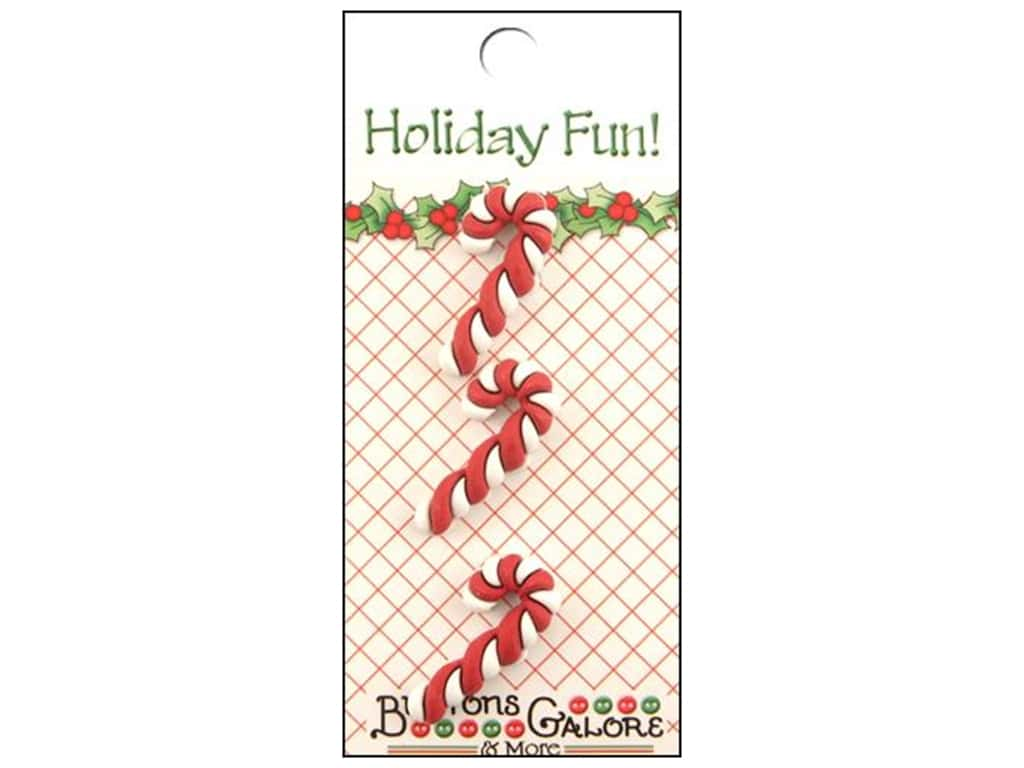 Buttons Galore Holiday Fun Buttons 3 pc. Candy Cane