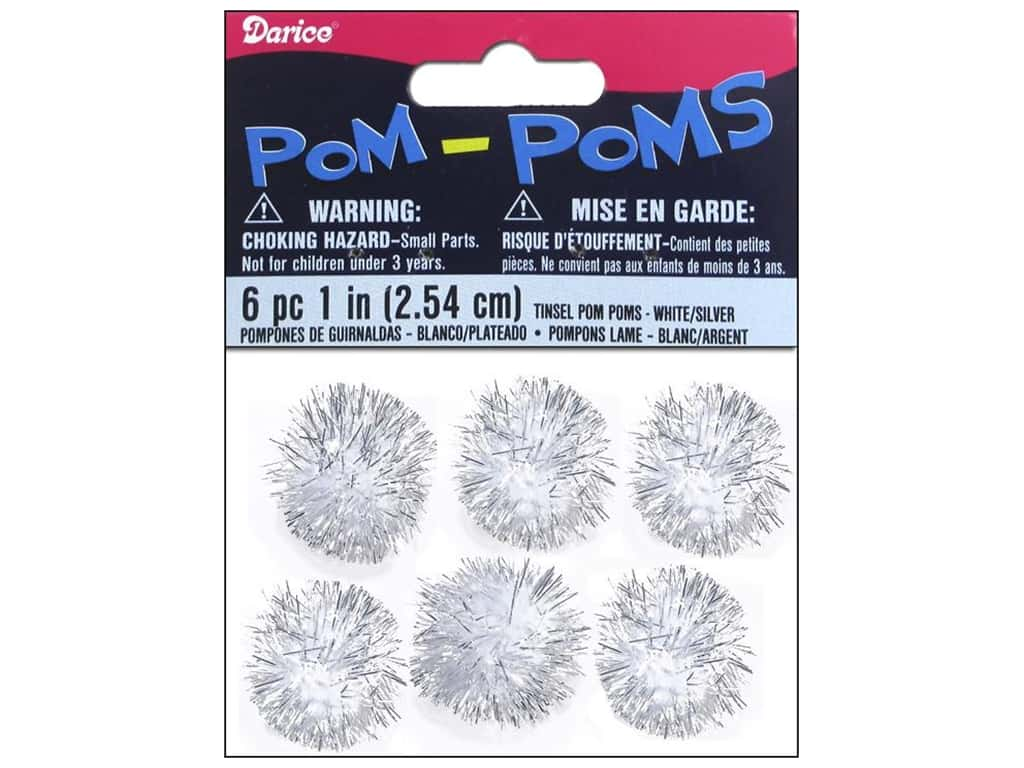 Darice Pom Poms 1 in. (25 mm) Christmas Tinsel White/Silver 6 pc.