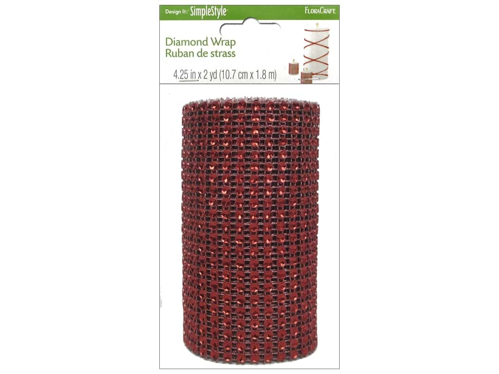 FloraCraft Diamond Wrap Ribbon 4 1/4 in. x 2 yd. Red