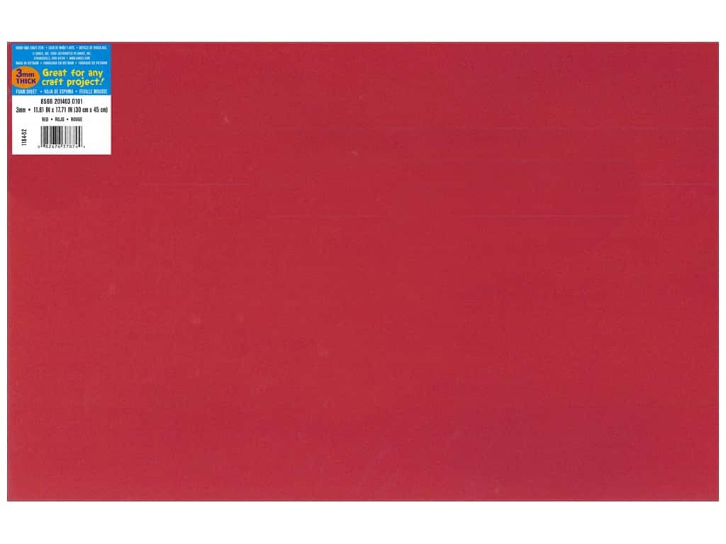 Darice Foamies Foam Sheet 12 x 18 in. 3 mm. Red