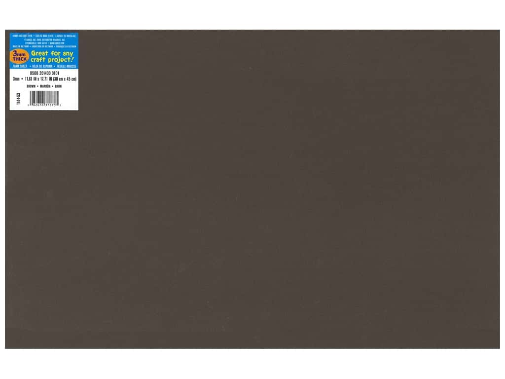 Darice Foamies Foam Sheet 12 x 18 in. 3 mm. Brown