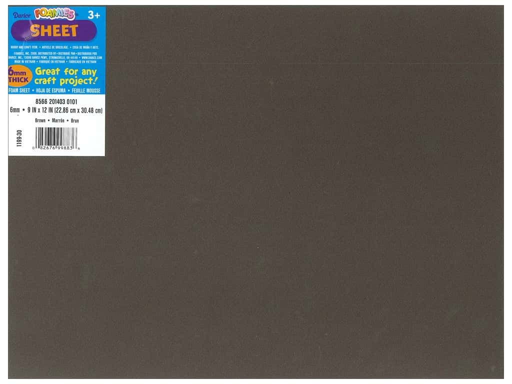Darice Foamies Foam Sheet 9 x 12 in. 6 mm. Brown