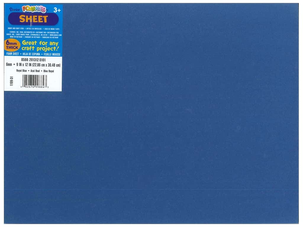 Darice Foamies Foam Sheet 9 x 12 in. 6 mm. Royal Blue