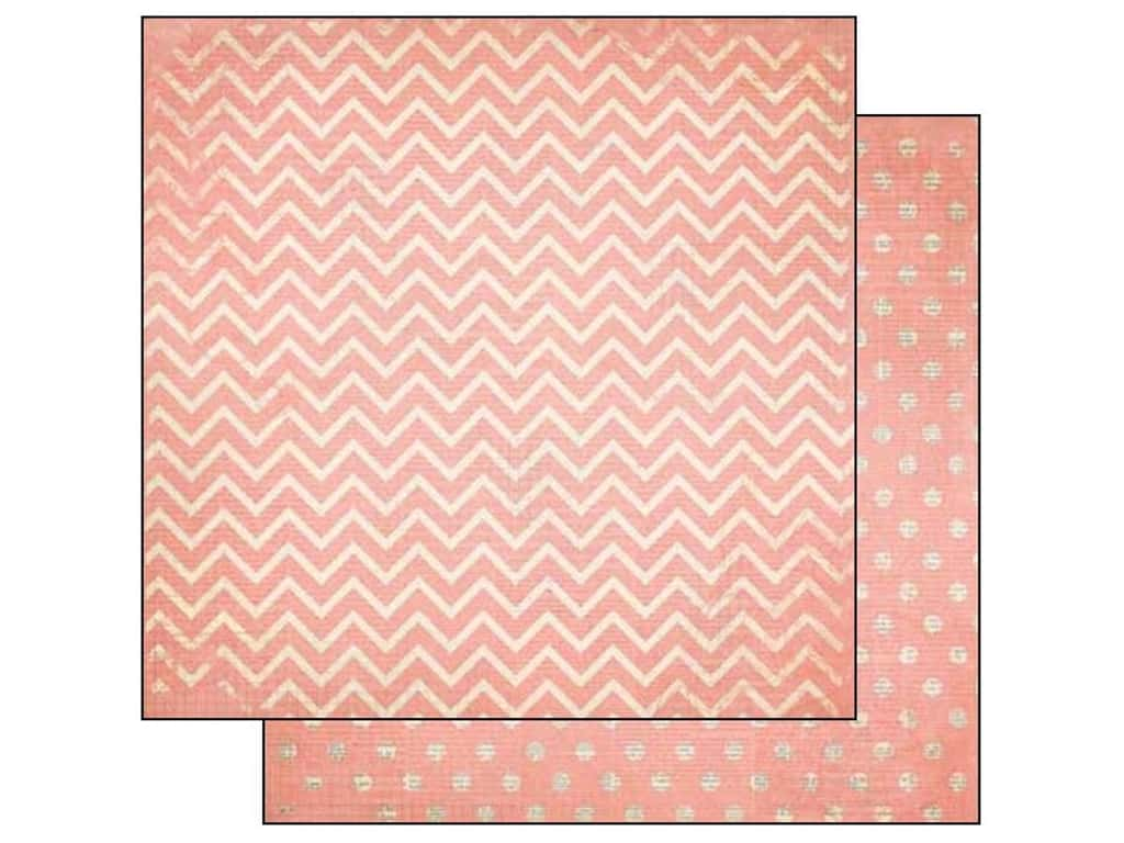 Bo Bunny 12 x 12 in. Paper Double Dot Chevron Coral (25 sheets)