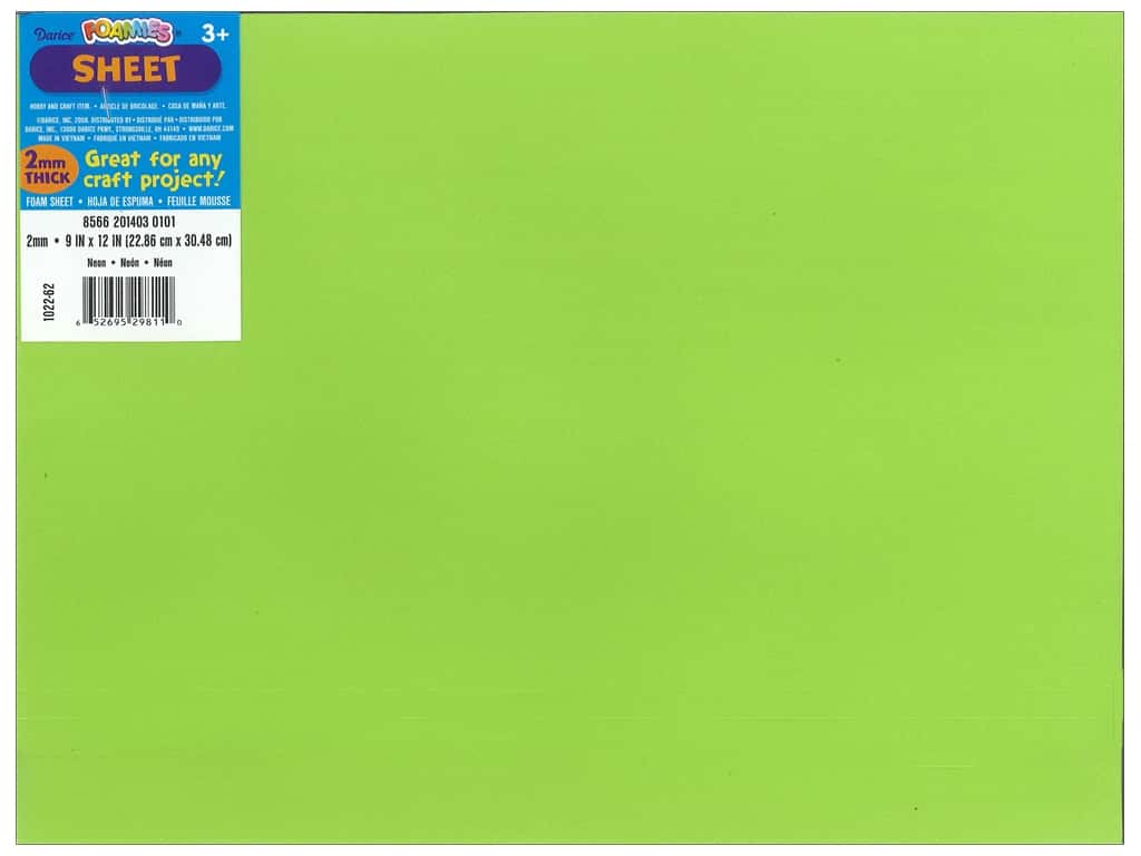 Darice Foamies Foam Sheet 9 x 12 in. 2 mm. Neon Green (10 pieces)