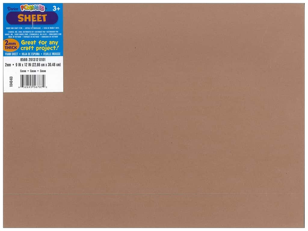 Darice Foamies Foam Sheet 9 x 12 in. 2 mm. Cocoa Brown (10 pieces)