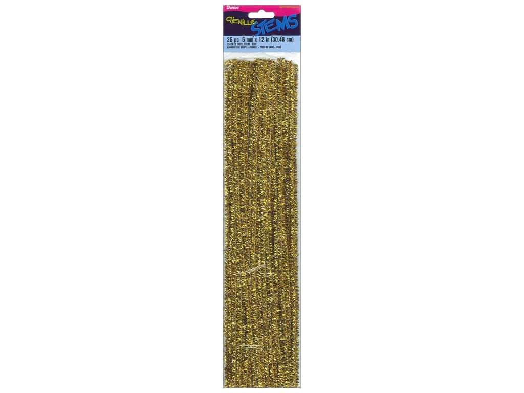 Darice Chenille Stems 6 mm x 12 in. Tinsel Gold 25 pc.
