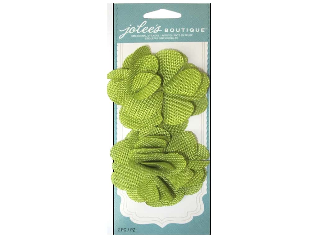 Jolee's Boutique Stickers Le Fleur Flower Burlap Lime Green