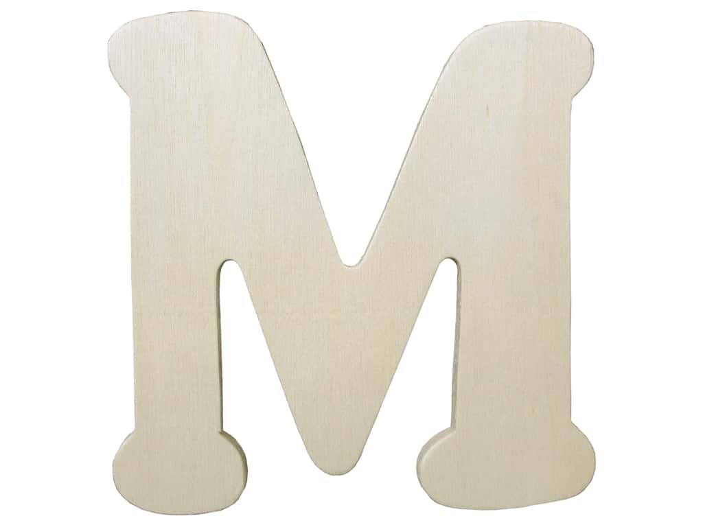 """Darice Unfinished Wood Letter 4 1/4 in. """"M"""" (12 pieces)"""