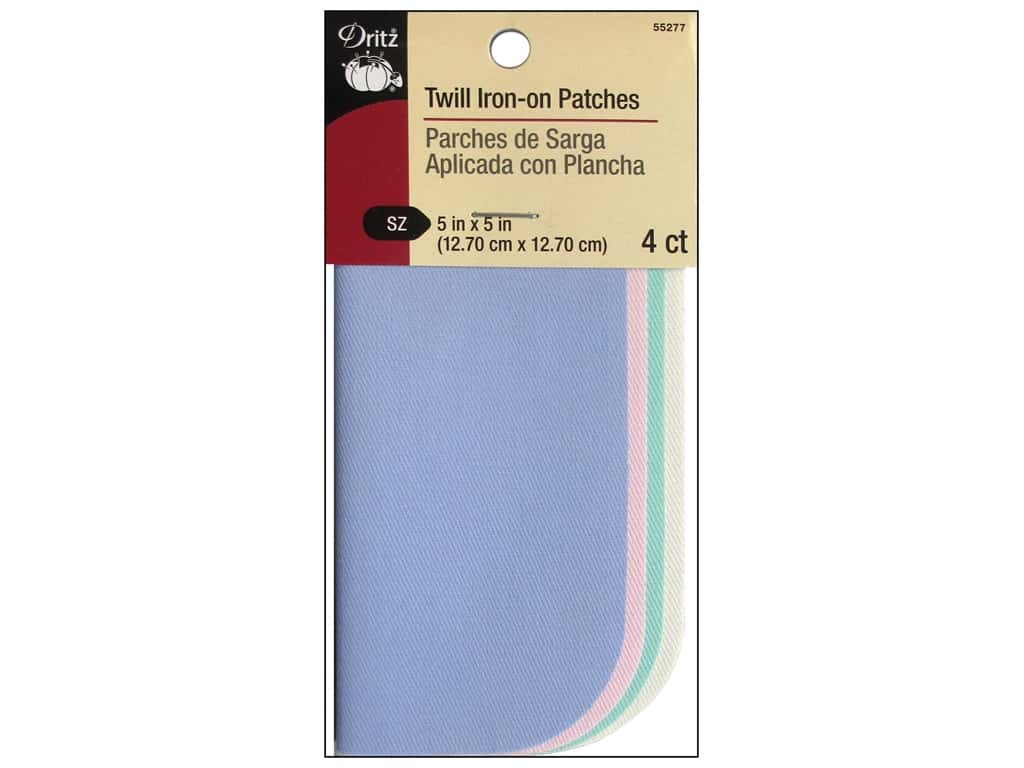 Dritz Twill Iron-On Patches - 5 x 5 in. Assorted Pastel 4 pc.