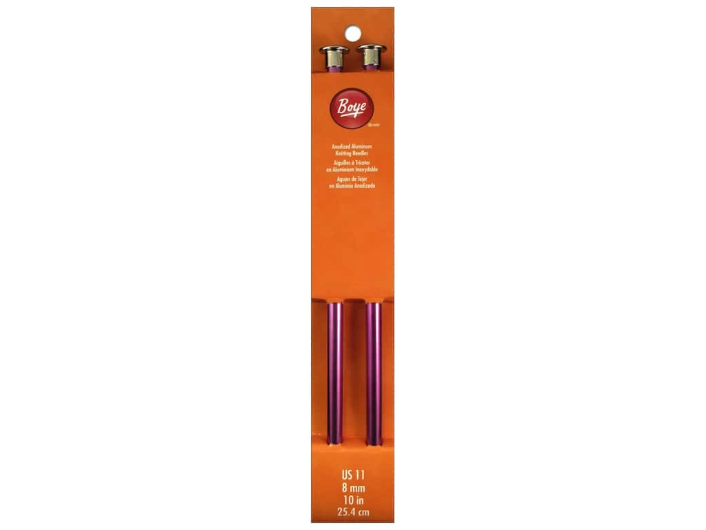Boye Single Point Knitting Needles Aluminum 10 in. Size 11 (8 mm)