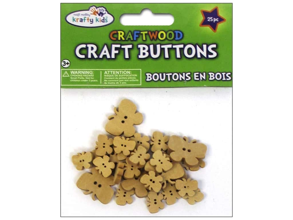 Multicraft Krafty Kids Craftwood Button Natural Butterflies 25pc