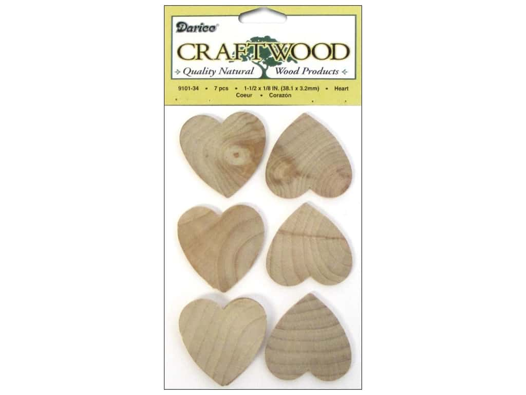 Darice Wood Craftwood Heart 1 1/2 in. 7 pc.
