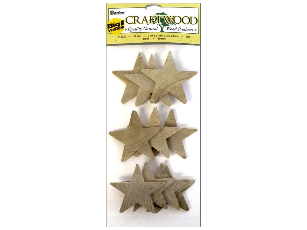 Darice Wood Craftwood Star 2 1/4 in. 10 pc.