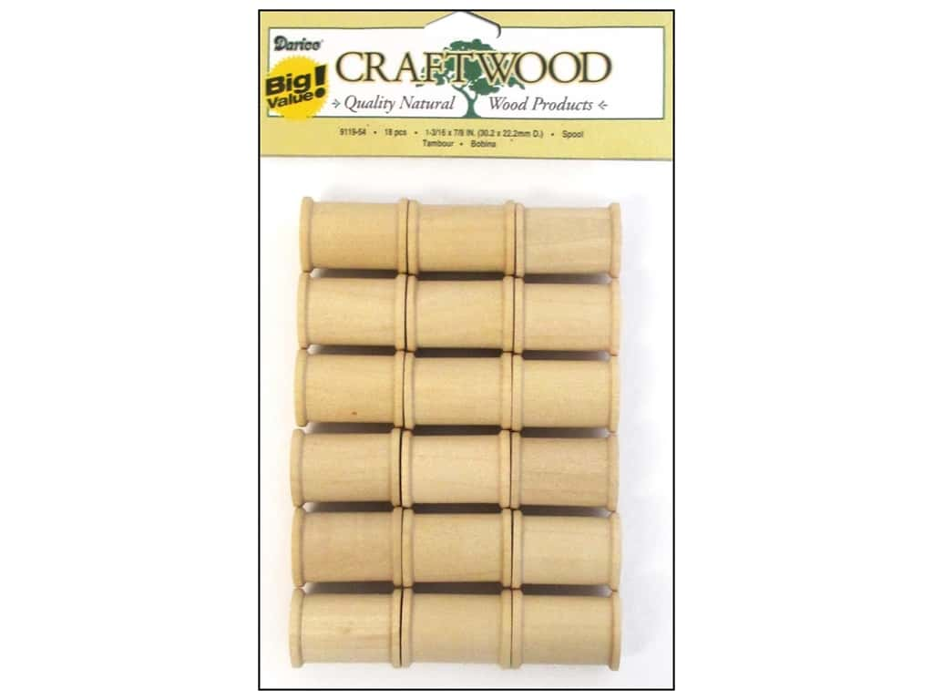 Darice Wood Craftwood Spool 1 3/16 x 7/8 in. 18 pc.