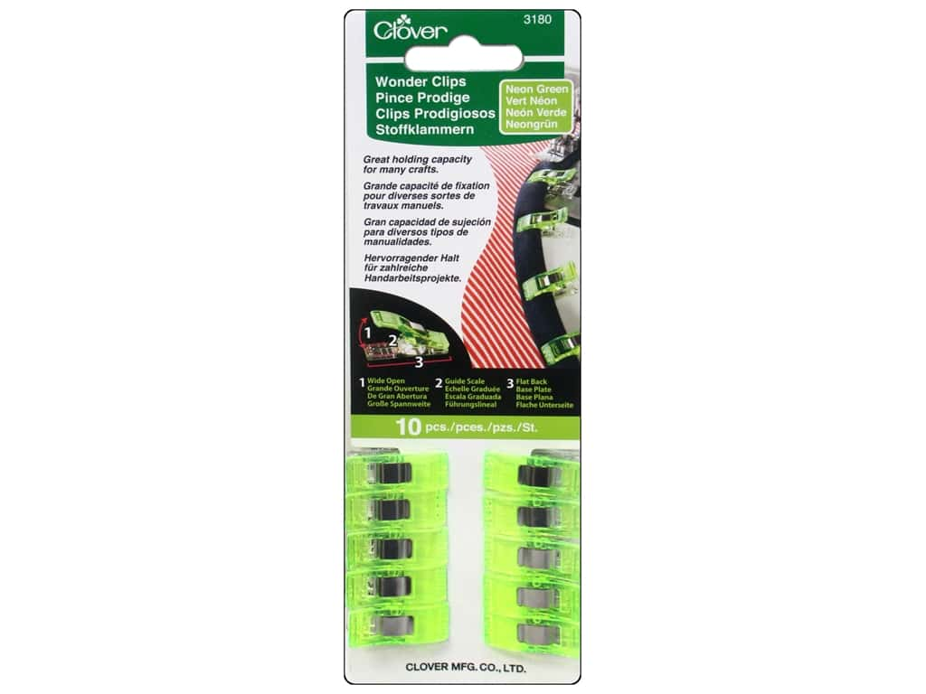 Clover Wonder Clips 10 pc. Neon Green