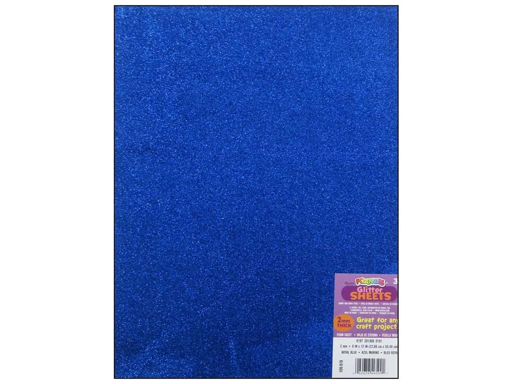 Darice Foamies Foam Sheet 9 x 12 in. 2 mm. Glitter Royal Blue
