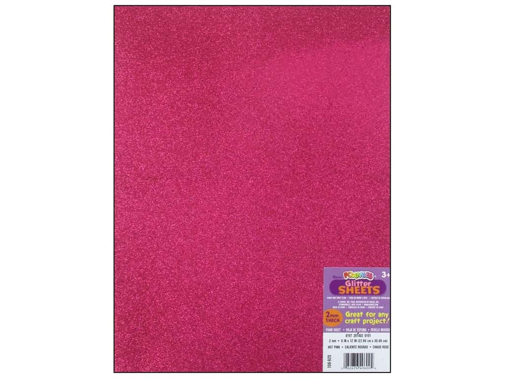 Darice Foamies Foam Sheet 9 x 12 in. 2 mm. Glitter Hot Pink