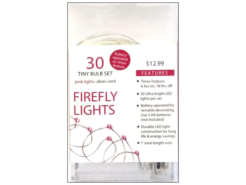 Sierra Pacific Lights Firefly LED 30 ct Pink/Silver Cord