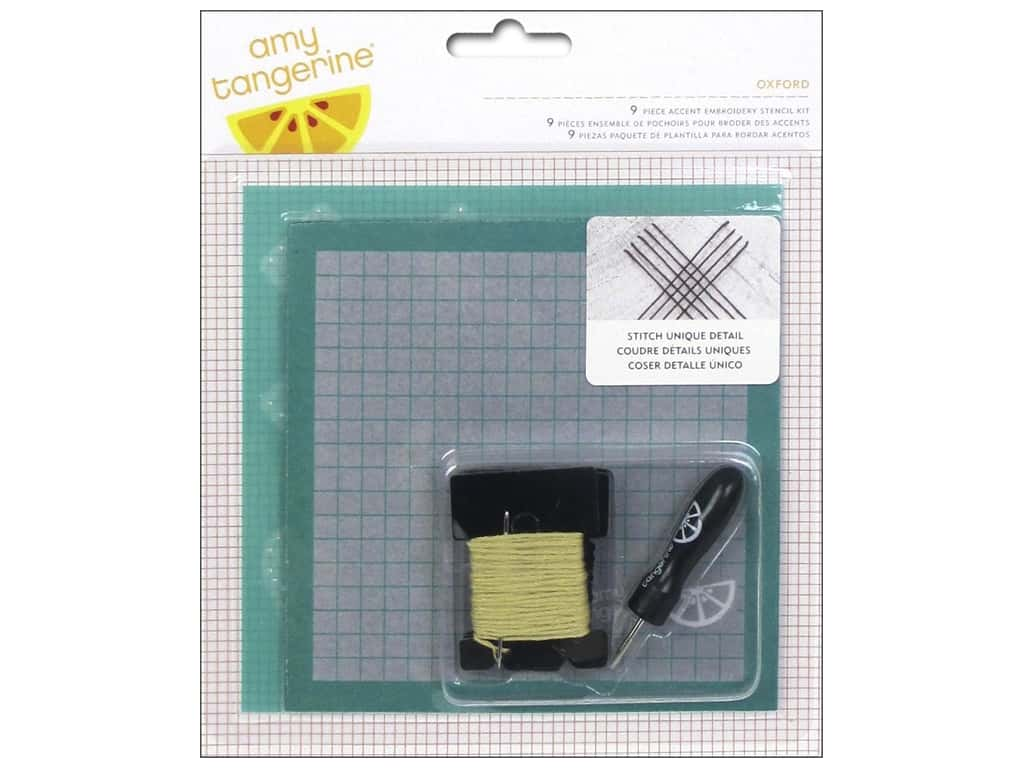 American Crafts Embroidery Kit Amy Tangerine Stitched Oxford