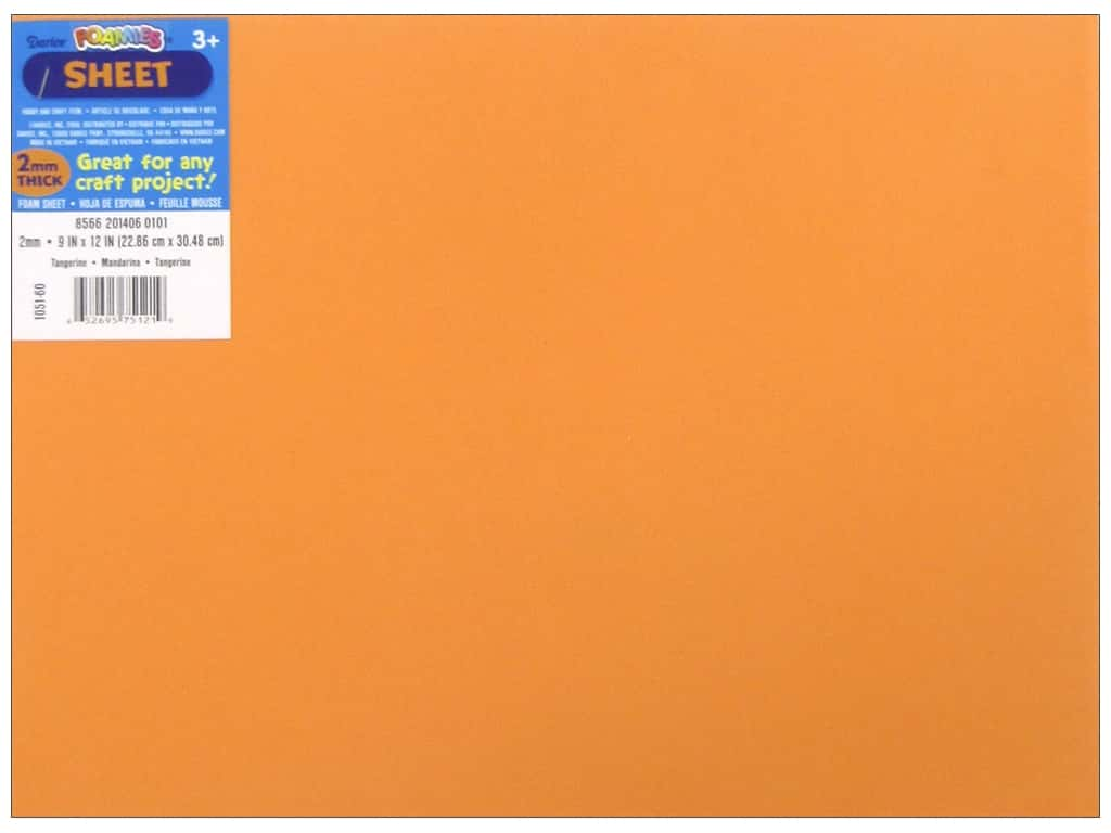 Darice Foamies Foam Sheet 9 x 12 in. 2 mm. Tangerine (10 pieces)