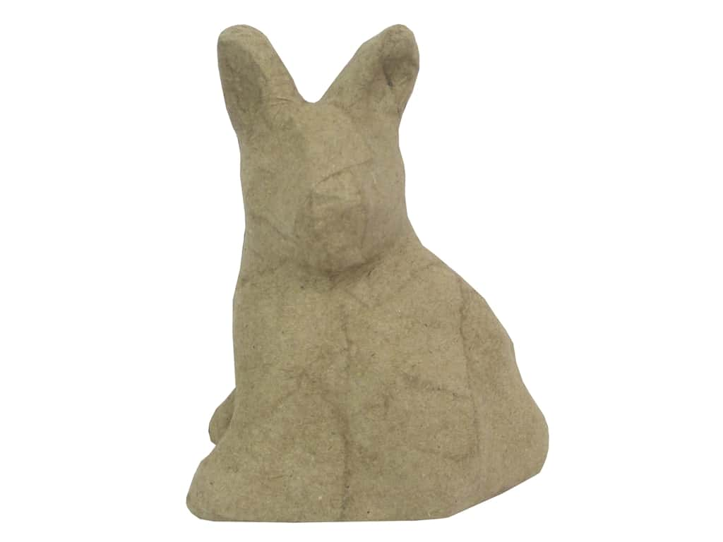 PA Paper Mache Mini Sitting Rabbit Head Turned 4 in.