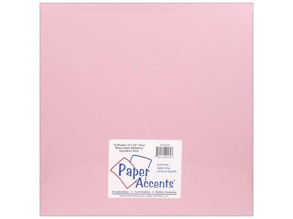 PA Adhesive Vinyl 12 x 12 in. Removable Matte Carnation Pink 12 pc. (12 sheets)