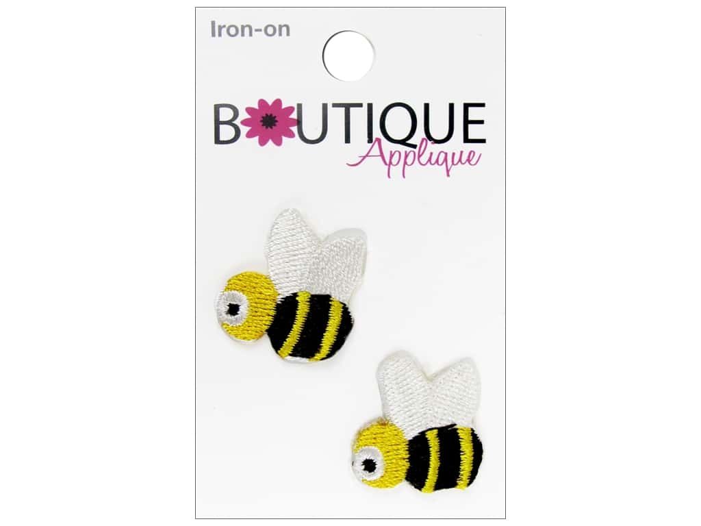 Blumenthal Boutique Applique 7/8 in. Yellow & Black Bees 2 pc.