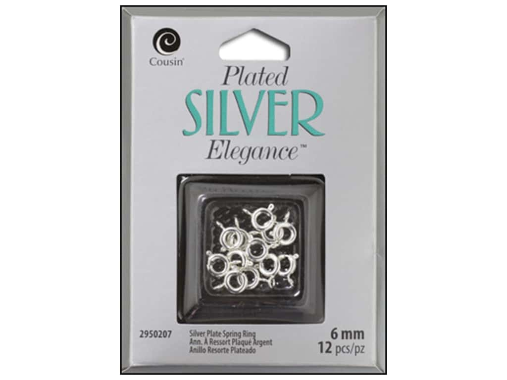 Cousin Elegance Silver Plated Spring Ring 6mm 10pc