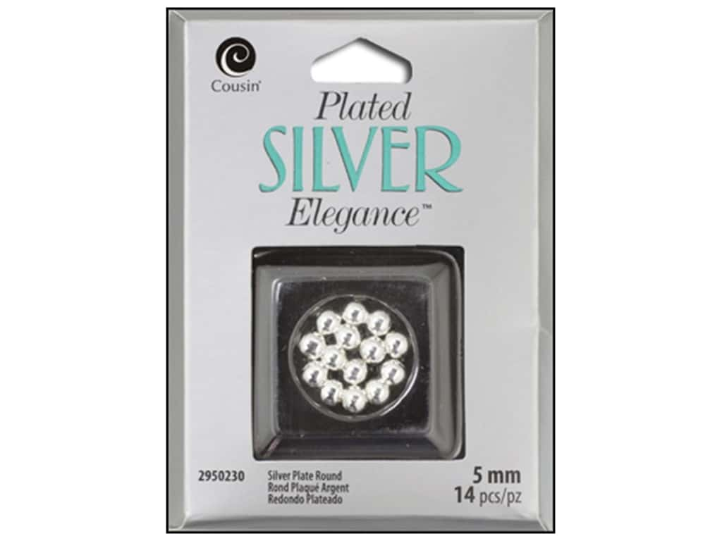 Cousin Elegance Metal Bead 5 mm Round 14 pc. Silver Plate