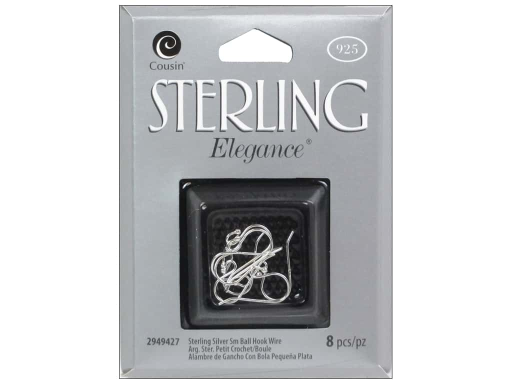 Cousin Elegance Sterling Small Ball Hook Wire 8pc