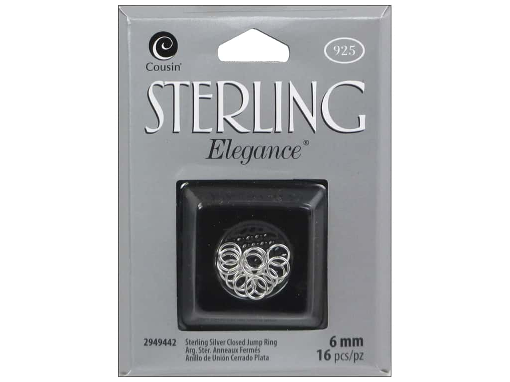 Cousin Elegance Jump Rings 6 mm 16 pc. Sterling Silver