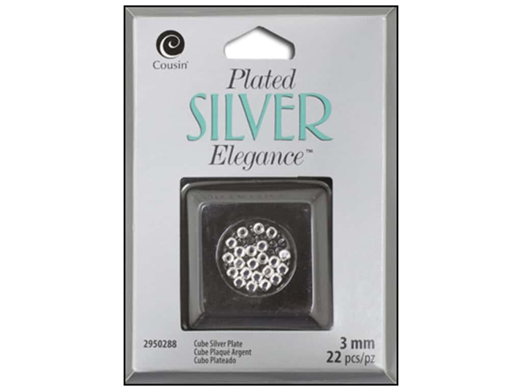 Cousin Elegance Metal Bead 3 mm Cube 22 pc. Silver Plate