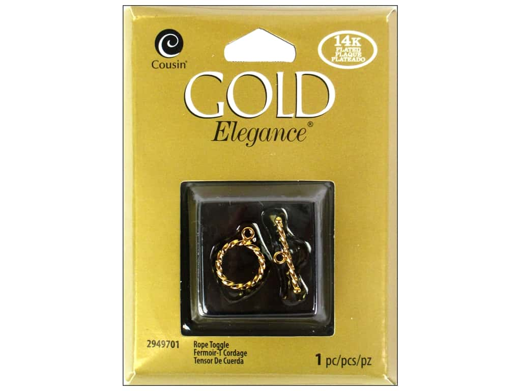 Cousin Elegance Toggle Clasp 1 pc. Rope 14K Gold Plate