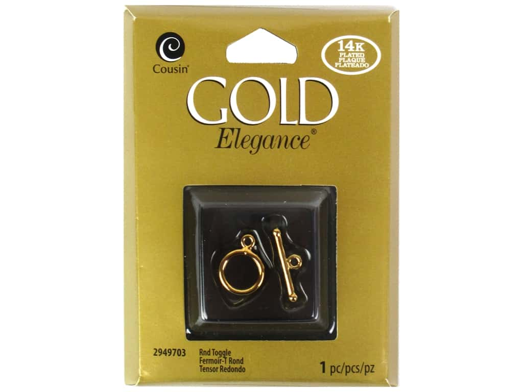 Cousin Elegance Toggle Clasp 1 pc. Round 14K Gold Plate