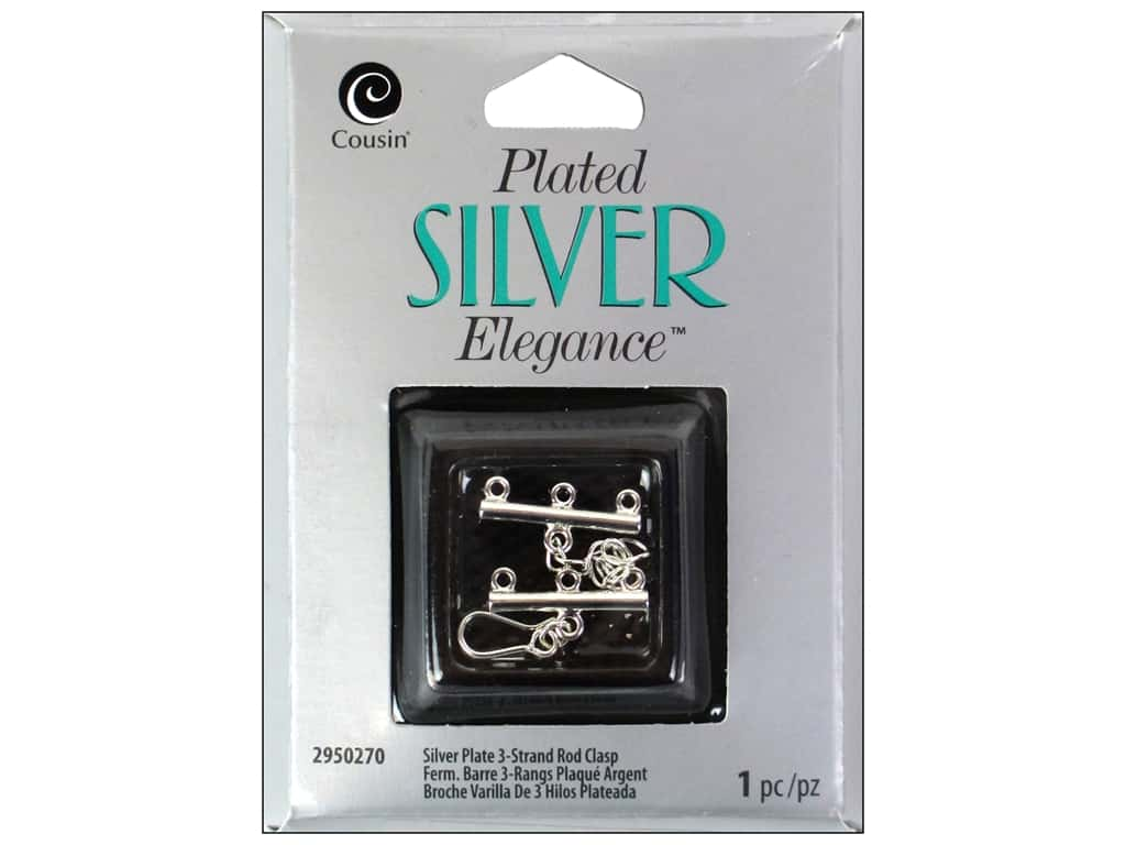 Cousin Elegance Toggle Clasp 1 pc. 3 Strand Rod Silver Plate