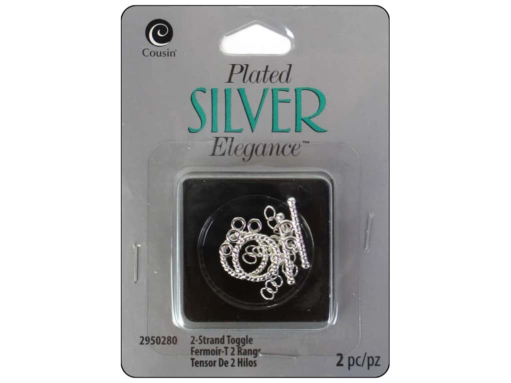 Cousin Elegance Toggle Clasp 2 pc. 2 Strand Silver Plate
