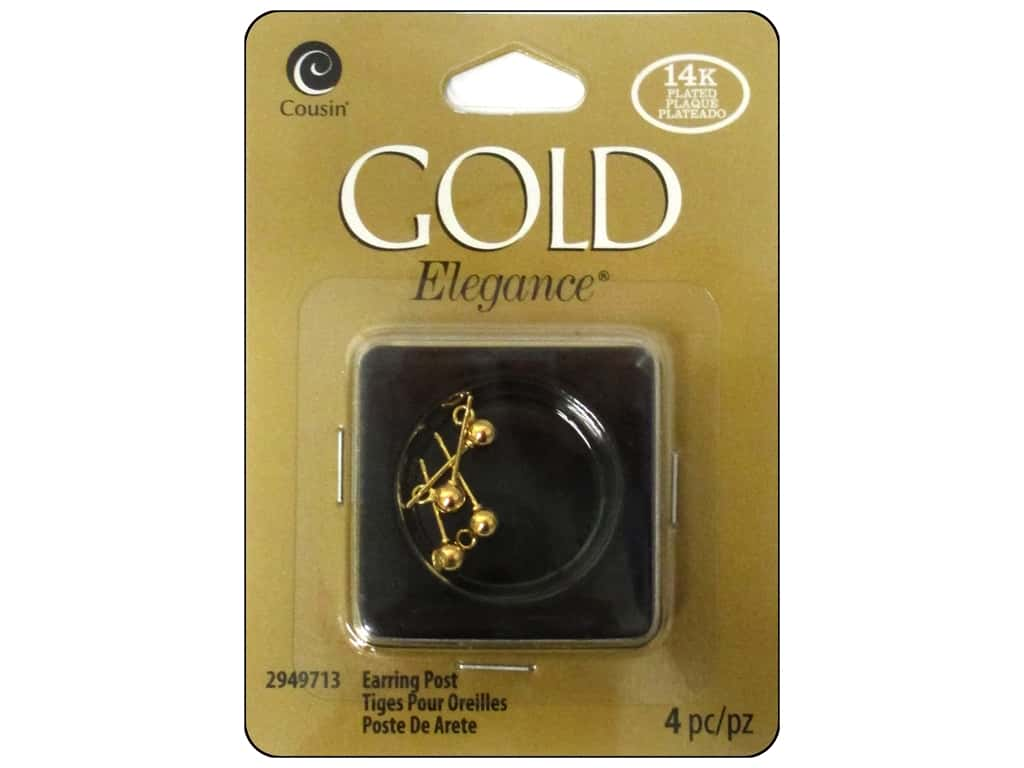 Cousin Elegance 14K Gold Plated Earring Post 4pc