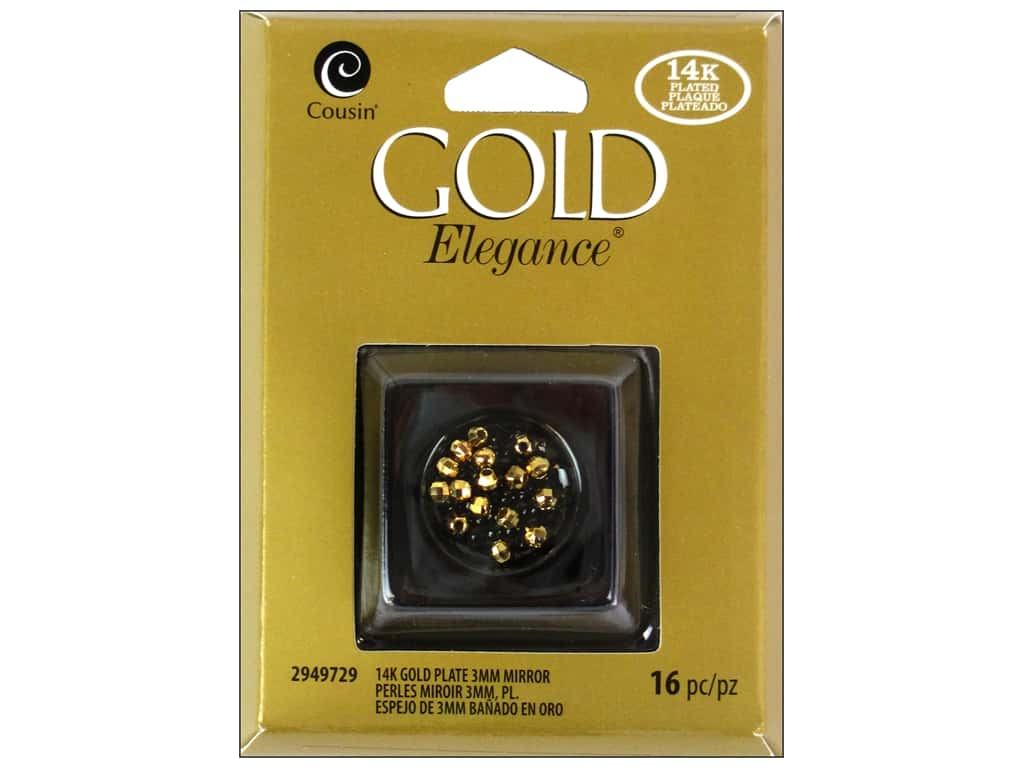 Cousin Elegance 14K Gold Plated Bead Mirror 3mm 16pc