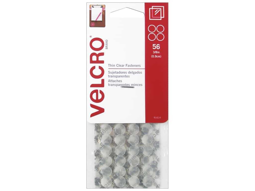Velcro Adhesive Fasteners Mini Dot 3/8 in. Clear 56 pc.